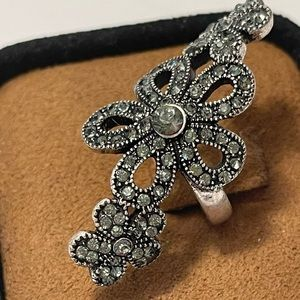 Marcasite cocktail ring. Size 6.5